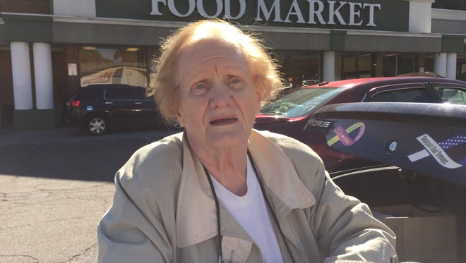 Mae Tyropolis, of Yonkers, has shopped at the A&P on Nepperhan Avenue for five decades and doesn't want it to be sold to CVS. She's seen here in front of the store on Oct. 7, 2015.
