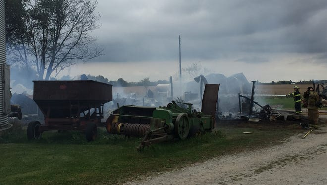 A fire destroyed a barn in Clinton County about 11 a.m. Friday, Oct. 9, 2015.