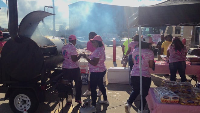 Sam's Club's second annual Breast Cancer Awareness Event featured plates of ribs, baked beans and potato salad.