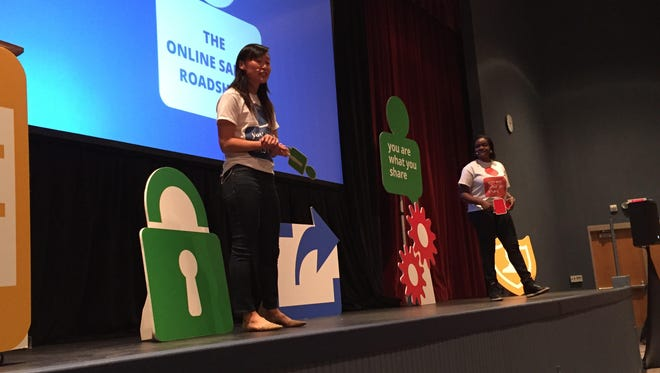 Stephanie Gunter and ifeoma Ozoma of Google speak to West Central Middle School students on Tuesday, Oct. 13, 2015