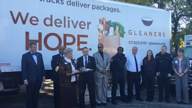 Cindy Hubert, the president and CEO of Gleaners Food Bank, announces the second run of a series of mobile food pantries in high-crime neighborhoods in Indianapolis. The mobile food pantries will return for this fall and winter, city officials say.