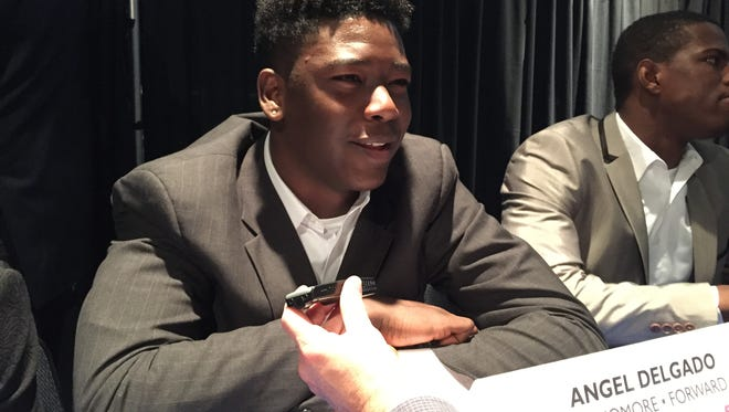 Angel Delgado fields questions during Big East media day.