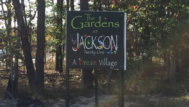A sign demarcating the construction site, on West Commodore Boulevard west of Route 527, for the Gardens at Jackson Twenty-One