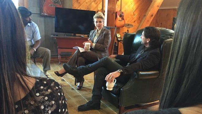 U.S. Rep. Marsha Blackburn, R-Nashville, discusses music legislation, including the Fair Play, Fair Pay Act, with Nashville music creators Wednesday at The Barn Studio in Nashville.