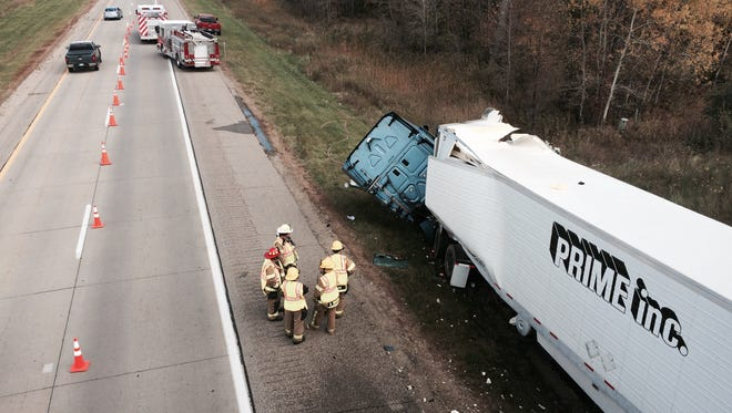 One lane of northbound US-127 in Clinton County is closed as emergency personnel work the scene of an accident involving a single semi truck.