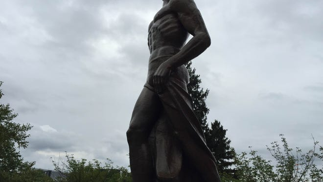"""Michigan's State University's """"Sparty"""" statue was targeted for vandalism early Friday morning before the Spartans' game Saturday against the University of Michigan in Ann Arbor."""