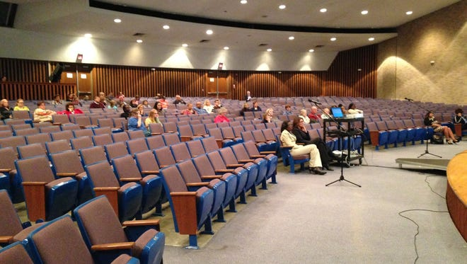 "About 40 people attend the parent information night, ""Internet Safety, Internet Predators and Teen Sex Trafficking in Indiana"" on Oct. 19 in Central High School's auditorium."