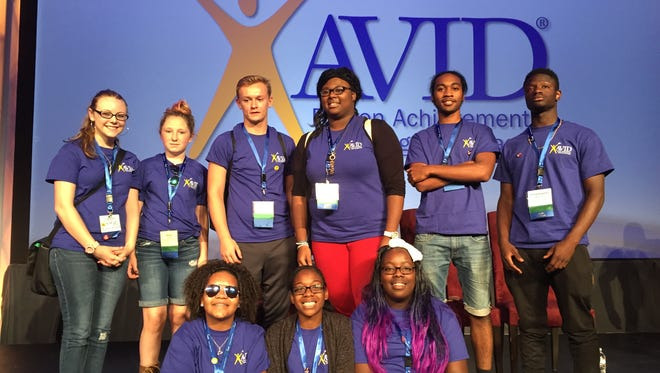 AVID student leaders from Millville (back row, from left) Christy Mason, an AVID tutor, Abigail Stidham, William Brown, Victoria Adams, Christopher Coley and Christopher Worthington; and (bottom row, from left) Alexis Taylor, Serena Townsend and Quiana Rice attend the AVID Summer Institute.