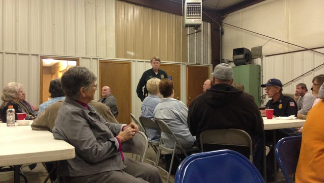 Madison County Sheriff John Mehr met with residents in Mercer Tuesday night to discuss residential burglaries, jail expansion, and a neighborhood watch program.