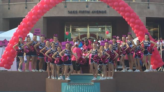 Palm Desert High School Cheerleaders helped kick off this year's Paint El Paseo Pink event.