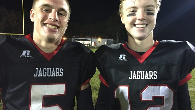 Jackson Memorial's Kyle Johnson and A.J. Tolmachewich are all smiles after beating Toms River South.