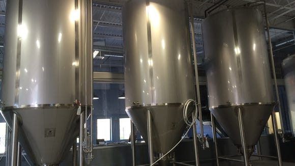 Vats are filled with the beers Double Nickel will open its taproom with on Saturday in Pennsauken.