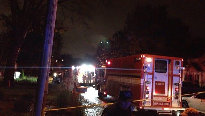 Emergency crews respond to a shooting in the 4500 block of Idaho Avenue in Sylvan Park