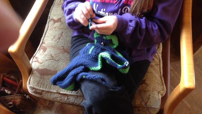 "Jody Glanton likes to crochet because it ""keeps my mind working so I don't go batty."""