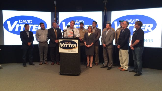 U.S. Sen. David Vitter speaks to the media Thursday about his most recent endorsement from LOGPAC.