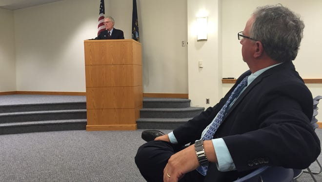 Marysville Mayor Pro Tem Duke Dunn, right, watches on as fellow commissioner candidate Terry London speaks before the board Thursday, Oct. 29. London, a former commissioner and state representative, and Dunn are seeking to replace the 4th District vacancy left by Tom Reilly.