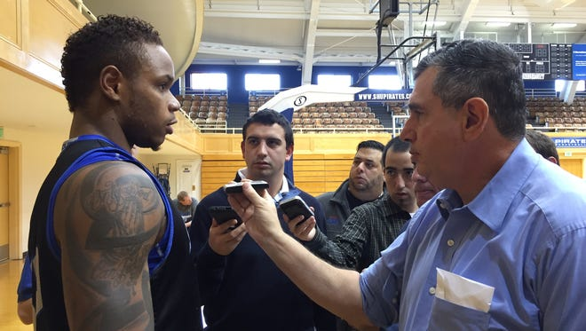 Derrick Gordon takes questions from reporters during Seton Hall basketball media day.