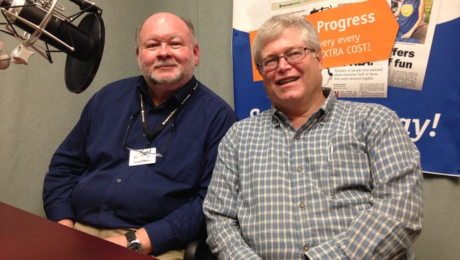 Jim Earnhardt, left, and Rick Harmon, recently retired from the Montgomery Advertiser, where each spent over 30 years.