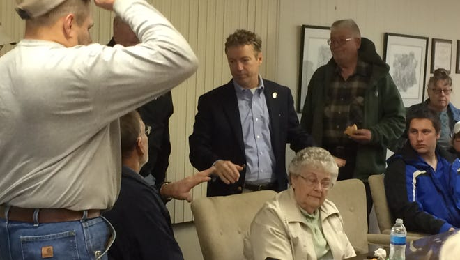 Kentucky Sen. Rand Paul speaks to members of the Jasper County Farm Bureau in Newton on Saturday.