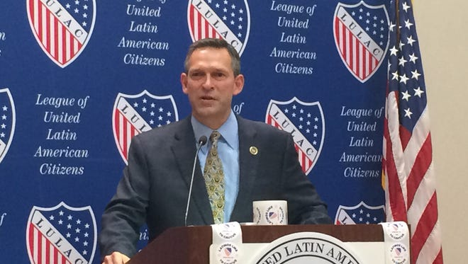 Brent Wilkes, national executive director of The League of United Latin American Citizens, speaks during a press conference.