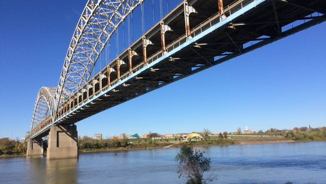 The Sherman Minton Bridge looking west to New Albany, Ind.