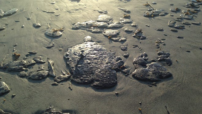 Tar washed up this week on Cocoa Beach. This shot was taken Thursday between 4th Street South and 5th Street South.