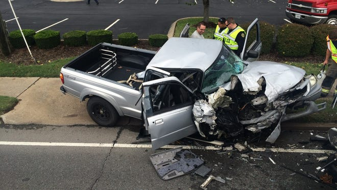 A crash Friday on Wilma Rudolph Boulevard shut down southbound lanes.