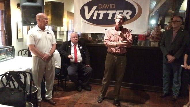 U.S. Sen. David Vitter speaks to a crowd of supporters at a Lafayette campaign event.