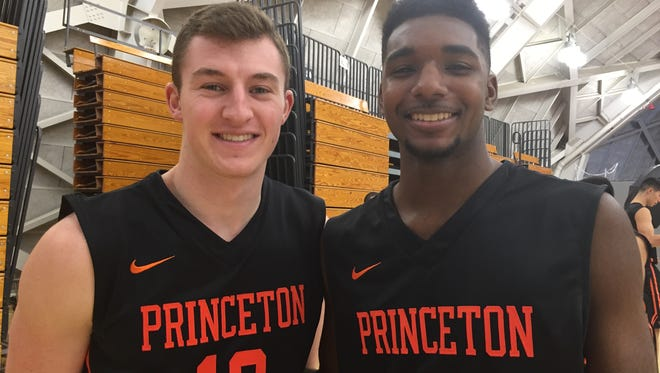 Spencer Weisz (left) and Amir Bell give Princeton hoops a Jersey edge