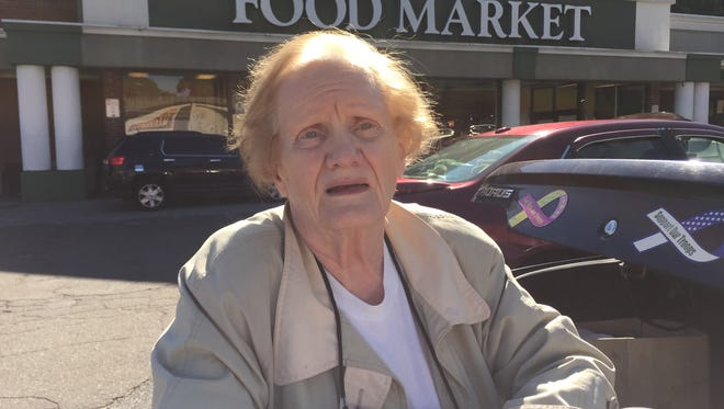 Mae Tyropolis, of Yonkers, has shopped at the A&P on Nepperhan Avenue for five decades and doesn't want it to be sold to CVS. She's seen here in front of the store on Oct. 7.