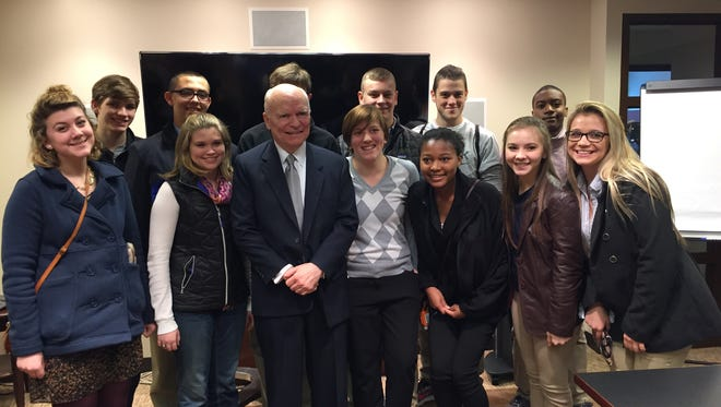 A group of 12 students from area high schools got to hear from C-Span founder Brian Lamb (center) in Washington Monday.