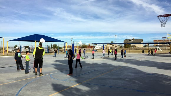 Davenport Elementary School students use the new courts