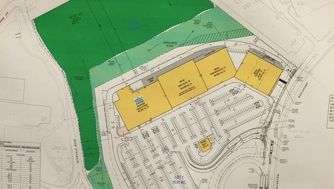 A rendering of an amended proposal for a retail plaza at the Waterview corporate park in Parsippany, which would be anchored by a Whole Foods grocery store, presented at a Parsippany council meeting Tuesday, Nov. 10.