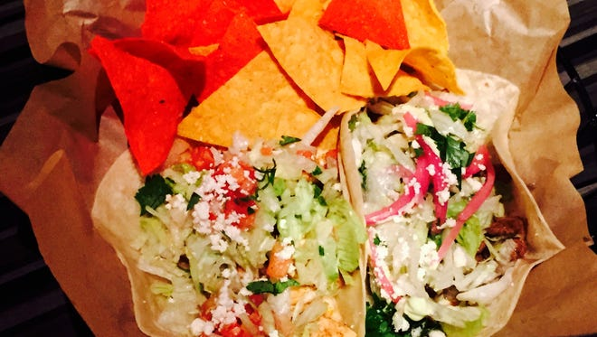 Taco Republik tacos. On the right is the Carne Santana on the left is the El Buffalo