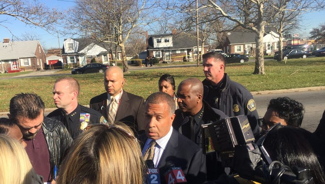 Detroit Police Chief James Craig addresses the media at the scene of a shooting Monday morning.