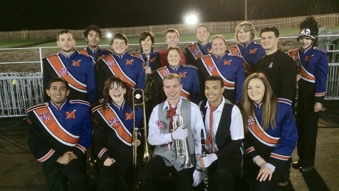 Millville High School's Marching Bolt Seniors - Michael Castro, Gretchen Bird, Josh Sheppard, Ethan Bryan, Sabrina Farinaccio, Keith Mahoney, Megan Page, Casey Rehman, Doug Oliver, Hunter Harris, Joe Nelson, RJ Coxe, Scott Craner, Alex Bruman, Robert Smith, and Kayla Hee - are pictured on Nov. 14 at the Cavalcade of Bands Championships in Hershey, Pa.