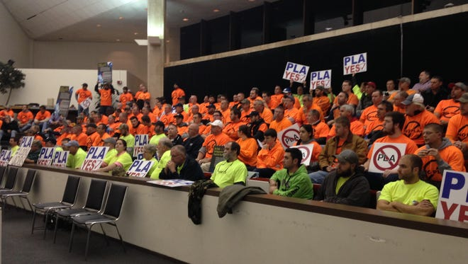 City Council Chambers was at capacity on Wednesday evening for a vote involving a project labor agreement for work at the Binghamton-Johnson City Joint Sewage Treatment Facility.