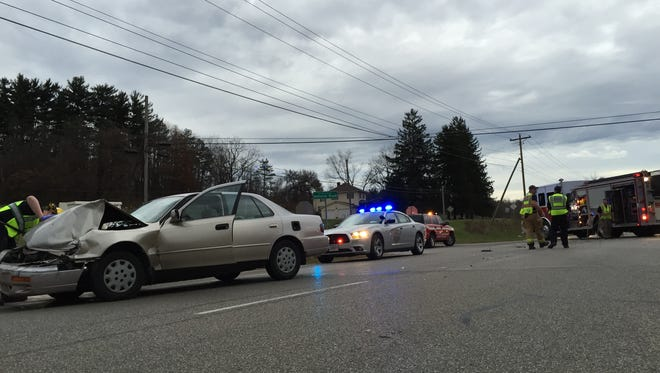A two-vehicle crash shut down West Pike for more than an hour Wednesday.