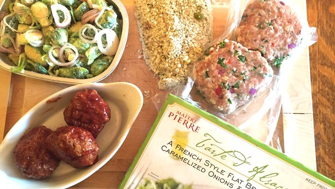 Clockwise from top: Fresh Market's Pistachio-Crusted Chicken, Garden Turkey Burgers from Whole Foods, Tarte d'Alsace from Trader Joe's, Ham Balls from Fareway and Brussels Sprouts with Shallots and Parmesan from Whole Foods.