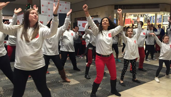 A flash mob at Haywood Mall  helped kick-off the launch of Salvation Army's Red Kettle campaign and Angel Tree program.