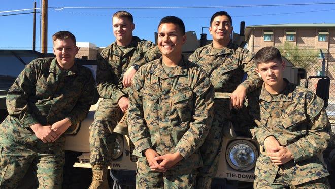 From left, Staff Sgt. Brandon Valentine, Sgt. Christopher Thompson, Cpl. Christopher Causey, Cpl. Luis Ortiz and Cpl. Reed Weiler, 3/7 Marines, Marine Corps Air Ground Combat Center, Twentynine Palms. Nov. 20, 2015.