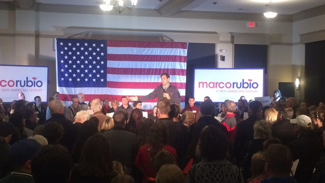 Florida Sen. Marco Rubio speaks to a group of about 200 in West Des Moines.