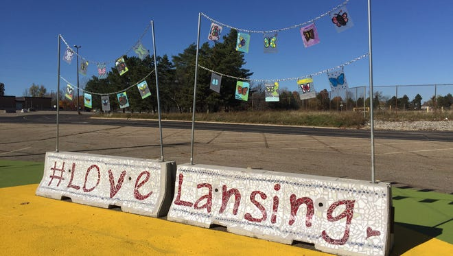 This display is a part of a public art project created this fall in Lansing Township at one of four former General Motors sites in the area that could get redeveloped.