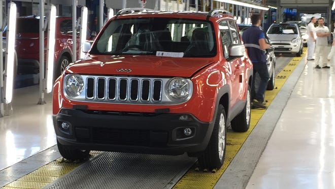 A Jeep Renegade nears the end of the assembly line at FCA's plant in Melfi, Italy