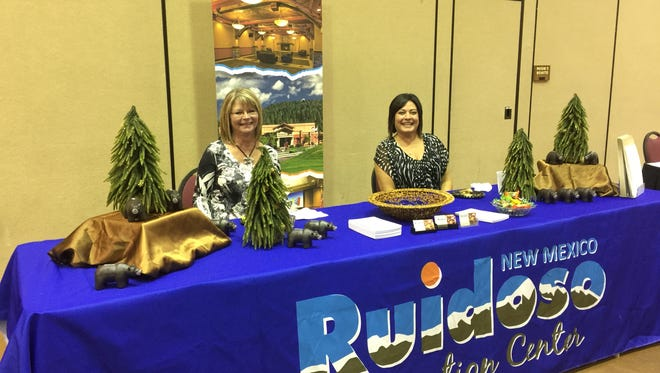 Gail Bailey and Bernadeen Herrera of the Ruidoso Convention Center at Business After Hours Thursday.