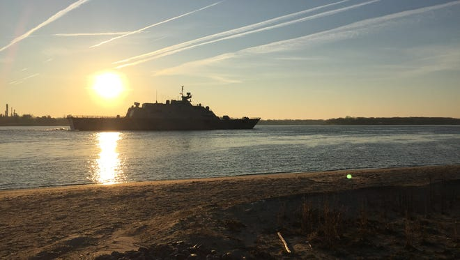 The USS Milwaukee passes through Marysville this morning on its way to Detroit.