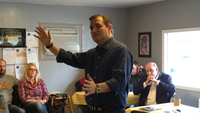 U.S. Sen. Ted Cruz, R-Texas, speaks at a campaign stop in Lenox, Iowa on Saturday, Nov. 28, 2015.