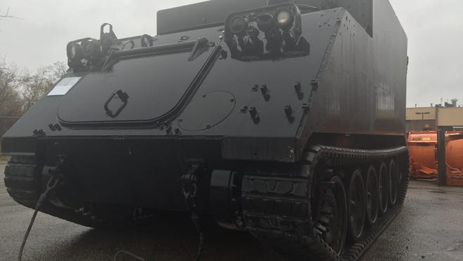 The Macomb County Sheriff's Office is expected to return this tracked armored vehicle to the military on Dec. 4, 2015 under an executive order by President Barack Obama to return such vehicles given to local law enforcement agencies across the state and country through a federal military surplus program.