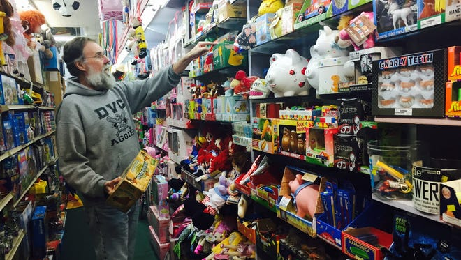 Scott Boren in his Haddonfield toy store, The Happy Hippo.