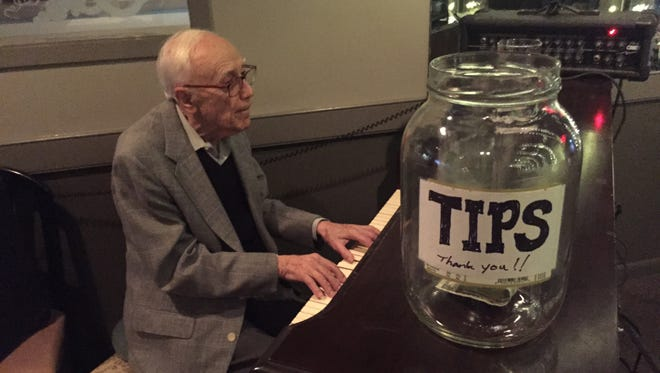 Dover native and Morris Plains resident Hank Shapiro, 95, plays the piano at the Upstream Grille in Jefferson.
